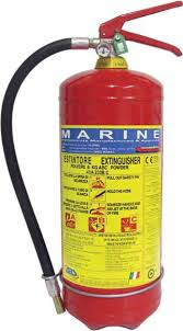 NATIONAL FIRE FIGHTING FIRE EXT EN3 + MED MARINE KG 6 POWDER 34A 233BC, CO2 internal cartridge, STD Wall BRACKET 20052